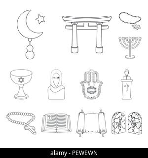 Religion and belief outline icons in set collection for design. Accessories, prayer vector symbol stock  illustration. - Stock Photo