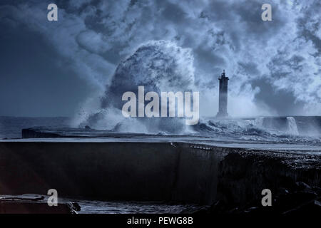 River mouth beacon under heavy sea storm with big waves. Used infrared filter. Toned blue. - Stock Photo
