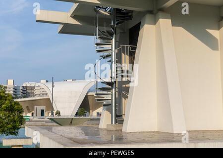 Control Tower (Yoshinobu Ashihara) and Komazawa Olympic Park Stadium (Murata Masachika Architects), built for the 1964 Summer Olympics in Tokyo, Japan