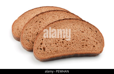 Three slices of rye bread isolated on white - Stock Photo