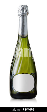 Front view of sparkling wine bottle with blank label isolated on white - Stock Photo