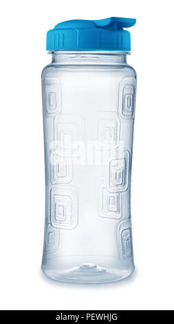 Front view of reusable plastic water bottle isolated on white - Stock Photo