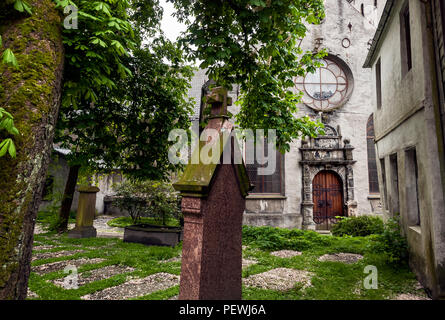 Curch creepy backyard, Bergen, Norway - Stock Photo