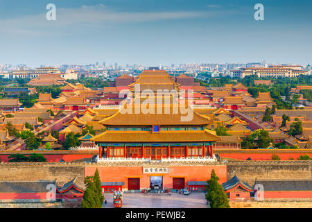 Beijing, China forbidden city outer wall and gate. - Stock Photo