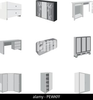 The set of images on the theme of sleep and rest. Different beds for every taste and color.Bed icon in set collection on monochrome style vector symbo - Stock Photo