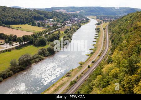 View from the Skywalk on River Weser, Beverungen, Weser Uplands, North Rhine-Westphalia, Germany, Europe - Stock Photo
