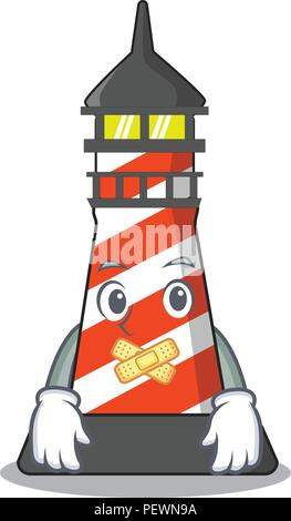 Silent classic cartoon lighthouse of red - Stock Photo