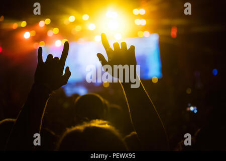 Picture of party people at music festival - Stock Photo