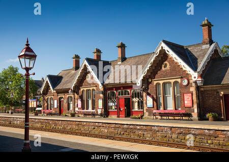UK, Cumbria, Eden Valley, Appleby Station on Settle to Carlisle Line - Stock Photo