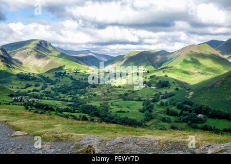 View of Newlands Valley from Cat Bells, Keswick, Lake District, England, UK - Stock Photo