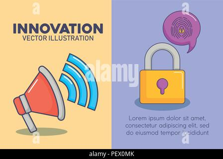 infographic presentation of innovation and technology concept with over colorful background, vector illustration icon set of innovation and technology concept over colorful circles and white background, vector illustration - Stock Photo