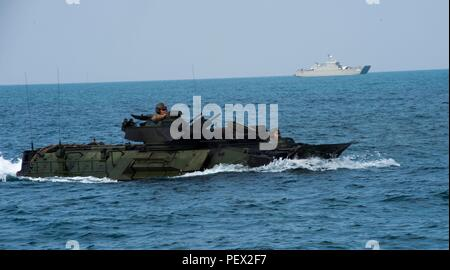 160212-N-RM689-130 GULF OF THAILAND (Feb. 12, 2016) - Marines assigned to the 31st Marine Expeditionary Unit (MEU) operate an amphibious assault vehicle (AAV) off the coast of Thailand as part of an amphibious capabilities demonstration in support of Cobra Gold (CG) 16. Amphibious dock landing ship USS Ashland (LSD 48) is assigned to the Bonhomme Richard Amphibious Ready Group, and is participating in exercise CG 16, a Thai-U.S. co-sponsored multinational joint exercise designed to advance regional security by exercising a robust multinational force from nations sharing common goals and securi - Stock Photo