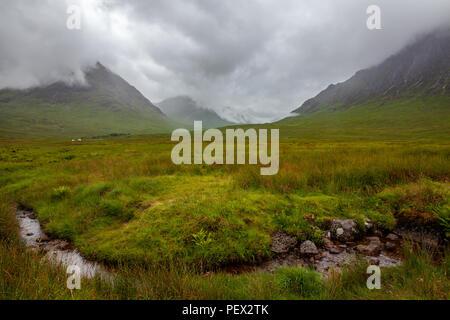 Tipical gloomy weather Highlands Landscape in Ballachulish Glencoe Scotland Nature Travel - Stock Photo