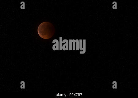 Bloody moon lunar eclipse on July 27, 2018 - Stock Photo