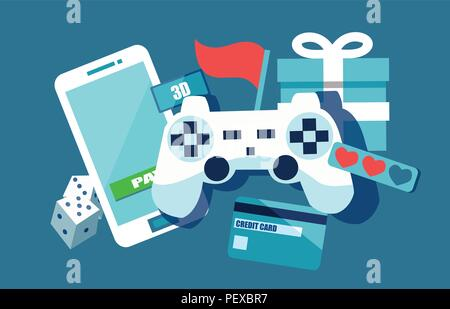 Vector concept depicting freemium business model, free of charge to play apps and games, paying for extra features and services - Stock Photo