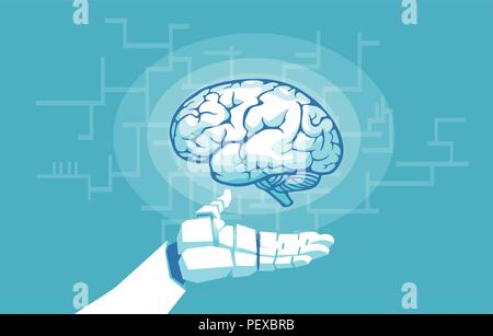 Vector of a robot hand holding examining human brain. Artificial intelligence concept - Stock Photo