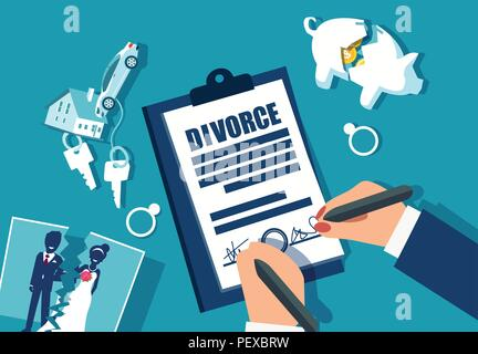 Divorce and property divison concept. Vector with piggy bank, house, car and marriage photograph divided in half - Stock Photo