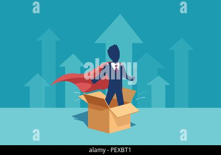 Vector of a businessman corporate employee as a super hero thinking outside the box has ideas for personal career and business growth - Stock Photo