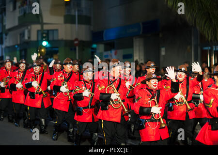 SANTA CRUZ DE TENERIFE, SPAIN- FEBRUARY 09, 2018: orchestra on opening parade in the carnival - Stock Photo