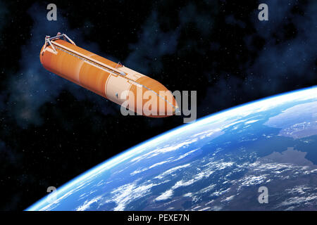 Space Shuttle External Tank Above Planet Earth. 3D Illustration. - Stock Photo
