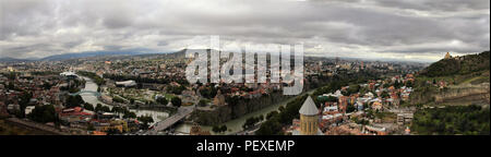 TBILISI, GEORGIA, OCTOBER 16, 2014: Panoramic view of Tbilisi city from the top - Stock Photo