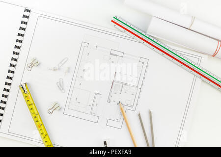 Creative flat lay overhead top view blueprints architectural flat project plan and office supplies on decorator white table workspace with swatches to - Stock Photo