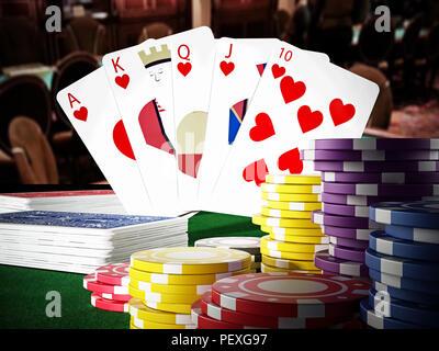 Poker royal flush hand and casino hands standing on poker table. 3D illustration. - Stock Photo