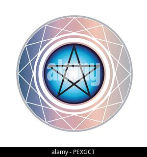 The Pentagram is a star with 5 points encased in a circle. One points upward meaning spirit. The other four points all represent an element of earth - Stock Photo