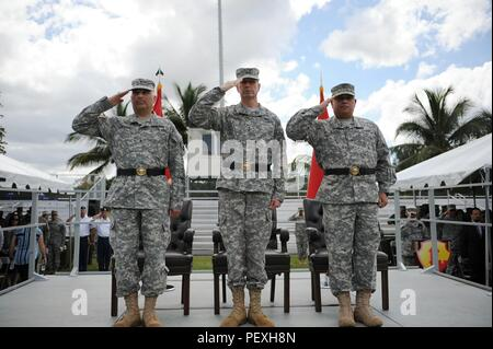 The 1st Mission Support Command (MSC) held a change of command ceremony where Brig. Gen. Jose R. Burgos relinquished command to Brig. Gen. Alberto C. Rosende, at Maxie Williams Field, Fort Buchanan on Feb. 26. (U.S. Army photo by Spc. Anthony Martinez)