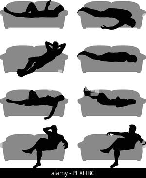 man silhouette on couch set