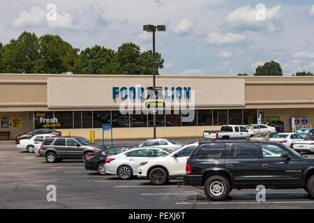 HICKORY, NC, USA-15 AUGUST 18:  A Food Lion grocery store, one of 1100 supermarkets in the southeastern United States. - Stock Photo