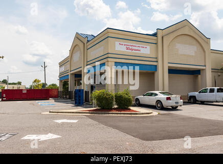 HICKORY, NC, USA-15 AUGUST 18: Recently emptied Rite-Aid store, bought by Walgreens.  'Your prescriptions are now at Walgreens.' - Stock Photo