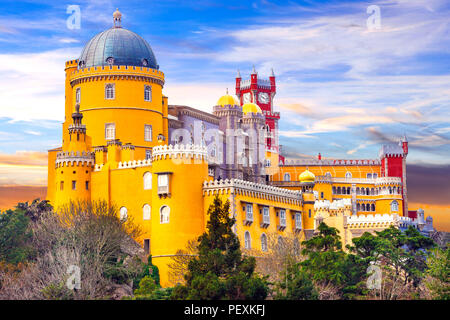 Impressive Pena Palace in Sintra ,near Lisbona,Portugal. - Stock Photo