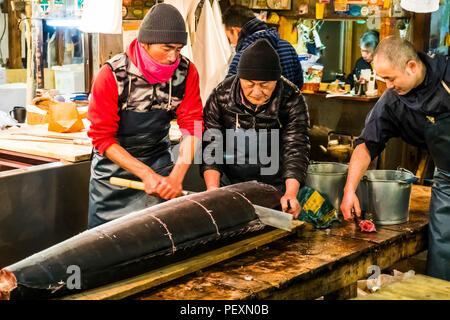 Tsukiji fish market in Tokyo, Japan - Stock Photo