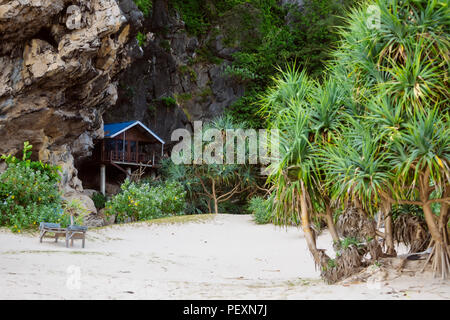 Bungalow near cliff on beach with palm trees, Banda Aceh, Sumatra, Indonesia - Stock Photo