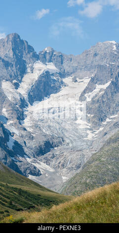 The mountain La Meije in the french alps, as seen from the col du Lautaret on a sunny summer day, Hautes Alpes, France. - Stock Photo