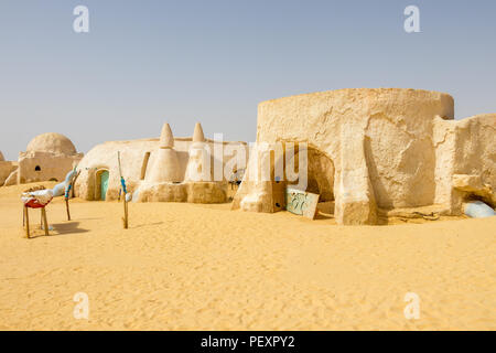 Star Wars location in Tunisia movie set 1977, Tozeur Sahara, Africa - Stock Photo