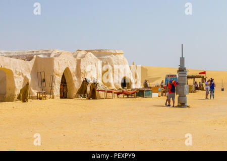People and the fake costumes of Darth Vader from star wars, Tunisia, Africa - Stock Photo
