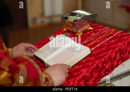 Belarus, the city of Gomel, Volotovskaya church. April 29, 2018. Year of adoption of faith. Church objects for the baptism of a child - Stock Photo