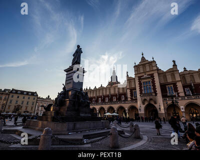 KRAKOW, POLAND - March 22, 2018: Adam Mickevich monument on Main square of Krakow - Stock Photo