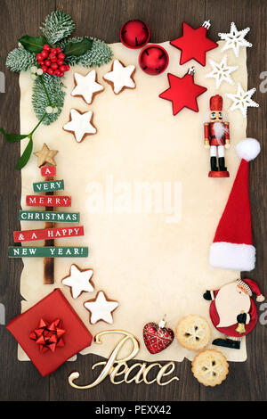 christmas party invitation or blank letter to santa claus concept with peace sign decorations