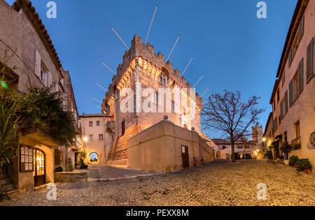 Medieval castle at le Haut-de-Cagnes town, France - Stock Photo