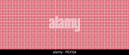 Red and white checkered picnic tablecloth texture background, banner - Stock Photo