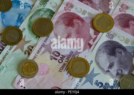 Turkish Lira bills and coins. The Turkish Lira is the national currency of Turkey. - Stock Photo