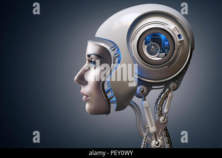 Cyborg illustrated with the face of a real young woman combined with a 3D rendered robot head. Conceptual of futuristic bionics and artificial intelli