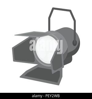 Spotlight icon in monochrome style isolated on white background. Light source symbol vector illustration - Stock Photo