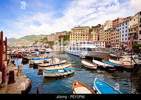CAMOGLI, ITALY - MAY 13,2013 Harbor of Camogli, fisher village near Genoa on the Ligurian coast - Stock Photo