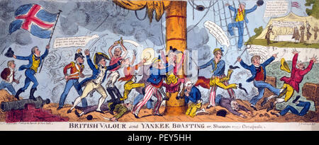 GEORGE CRUIKSHANK (1792-1878) English caricaturist. 'British valour and Yankee Boasting' from 1813 - Stock Photo