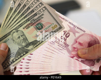 turkish lira and american dollar banknotes - Stock Photo