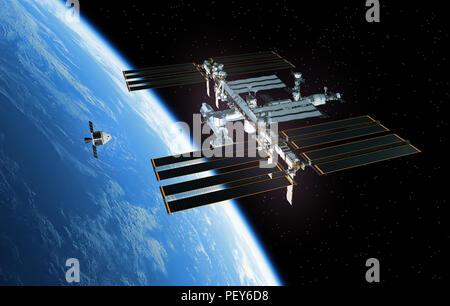 Spaceship Is Preparing To Dock With International Space Station. 3D Illustration. - Stock Photo